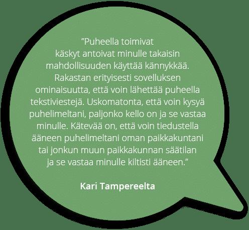Käyttäjä kertoo, Kari Tampereelta
